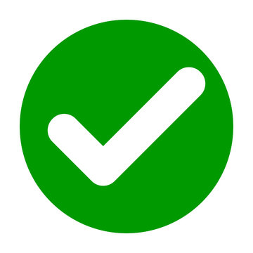 Flat round check mark green icon, button. Tick symbol isolated on white background. Vector illustration. EPS10