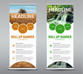 Template vertical roll up banner with round and semicircular design elements for the image.