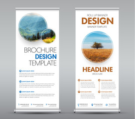 Templates roll up banners with round design elements with shadow for your photo or image. A set of vertical brochures with space for photo, text and information. Vector illustration