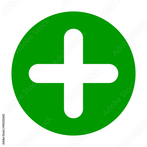 flat round plus sign green icon button positive symbol isolated on white background vector. Black Bedroom Furniture Sets. Home Design Ideas