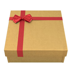 Yellow giftbox with red striped wrapping paper on white. 3D illustration