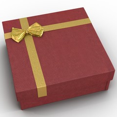 Fancy red gift-box with yellow ribbon bow isolated on white. 3D illustration