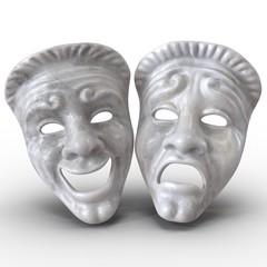 Theatre Masks Set White Marble on white. 3D illustration