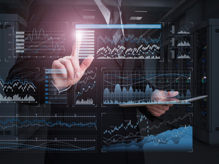 A successful business concept. Stock charts