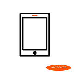 A simple vector linear image of an electronic book or tablet with an orange eye, a line icon, a flat style