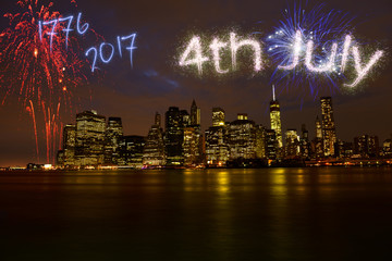 Fireworks for Independence Day Over Manhattan