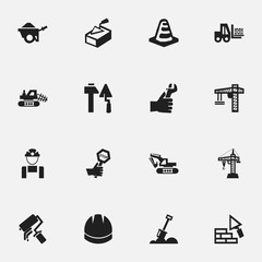 Set Of 16 Editable Building Icons. Includes Symbols Such As Excavation Machine, Endurance, Trolley And More. Can Be Used For Web, Mobile, UI And Infographic Design.