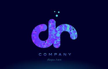dr d r bubble circle dots pink blue alphabet letter logo icon vector