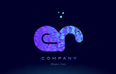 er e r bubble circle dots pink blue alphabet letter logo icon vector