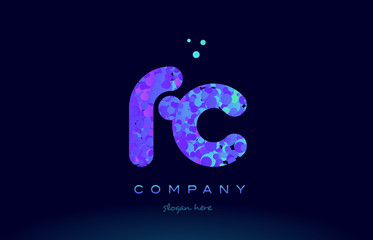 fc f c bubble circle dots pink blue alphabet letter logo icon vector