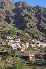 VALLE GRAN REY, LA GOMERA, SPAIN: View of Chele village with terraced fields and mountains