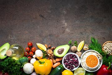 Balanced diet. Organic vegan food for healthy nutrition. Top view Papier Peint