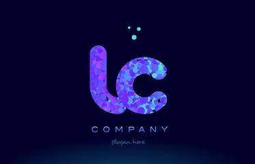 lc l c bubble circle dots pink blue alphabet letter logo icon vector