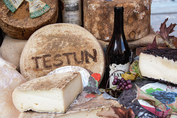 Cheese and wine, Typical products of Piedmonte, Italy