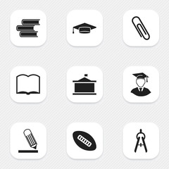 Set Of 9 Editable University Icons. Includes Symbols Such As Book, Oval Ball, Math Tool And More. Can Be Used For Web, Mobile, UI And Infographic Design.
