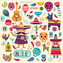 Pattern with symbols of Mexico