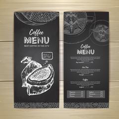 Chalk drawing. Coffee menu design. Decorative sketch of cup of coffee or tea