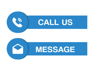 Call us and message buttons blue set.