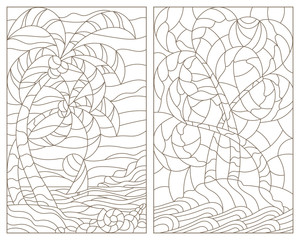 Set contour illustrations of the stained glass Windows of tropical landscapes ,island with palm trees against the sky, ocean and sun
