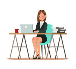 business characters working in office. Vector illustration design