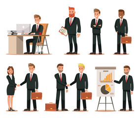 Set of business characters working in office. Vector illustration design No.4