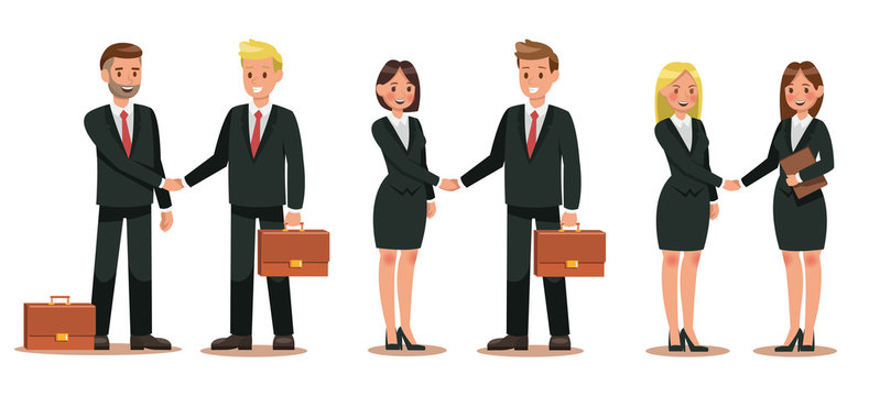 Set of business characters working in office. Vector illustration design No.3