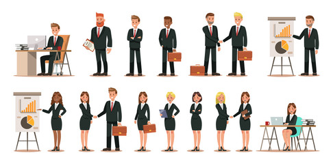Set of business characters working in office. Vector illustration design No.5