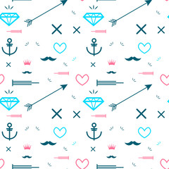 Abstract seamless pattern with many elements