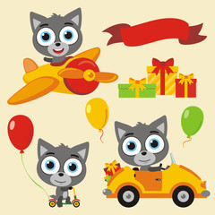 Set isolated funny wolf in cartoon style for holiday design. Collection cute wolf with balloons and gifts for children holiday and birthday.