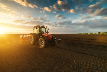 Farmer with tractor seeding - sowing crops at agricultural field in spring Wall mural