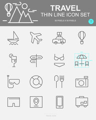 Set of Travel Vector Line Icons. Includes beach, restaurant, passport, luggage and more. 50 x 50 Pixel.