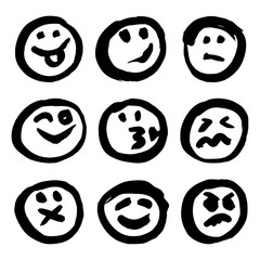 Set of Black Emoticons on White Background