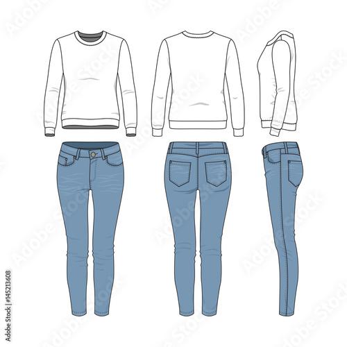 Vector Illustration Of Female Clothing Set White Basic Sweatshirt Jeans Blank