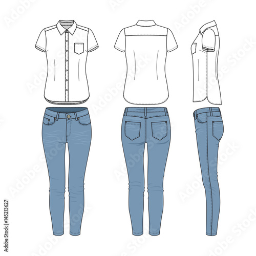 Female Clothing Set Of White Shirt And Blue Jeans Vector Templates