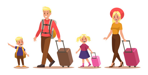 Family lifestyle. Family travel time. Happy family go to travel. Vector illustration design. No2