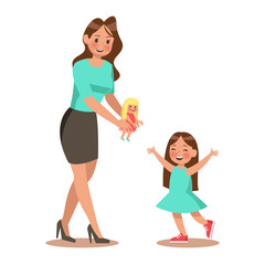 Mom and daughter playing doll. character design no2