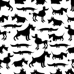 dog silhouettes on white background, seamless pattern