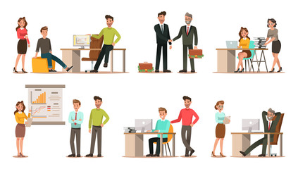 Set of business characters working in office. Vector illustration design No.6