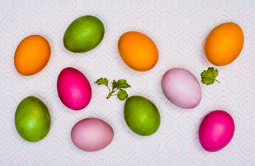 Colorful Easter eggs and the first green leaves on a napkin on paper towels.