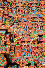 Wall Mural - Colorful carved walls of the Indian temple.