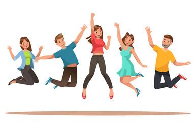 Happy teens character design. Teens dancing vector.