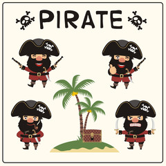 Set isolated pirate in cartoon style. Collection funny pirate in different poses with pistols, swords, chest, island with palm trees.
