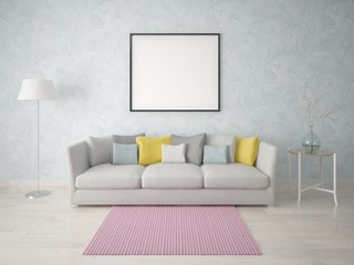 Mock up a simple living room with a compact sofa on the background of fashionable wallpaper.