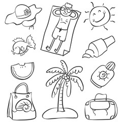 Doodle of summer object various