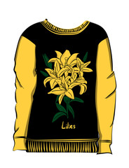 Black sweatshirt with yellow sleeves. Yellow lily flowers are drawn on the fabric eps 10 illustration