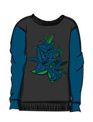 Gray sweatshirt with blue sleeves. Blue lily flowers are drawn on the fabric eps 10 illustration