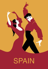 Couple of flamenco dancers. Vector illustration