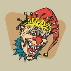 crazy clown clipart. vector  Illustration.