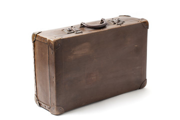 Old Antiquated Suitcase On White