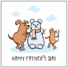Happy father's day greeting card in cartoon style with cute dogs. Vector illustration.